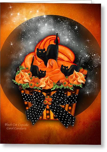 Black Cat Cupcake Greeting Card by Carol Cavalaris