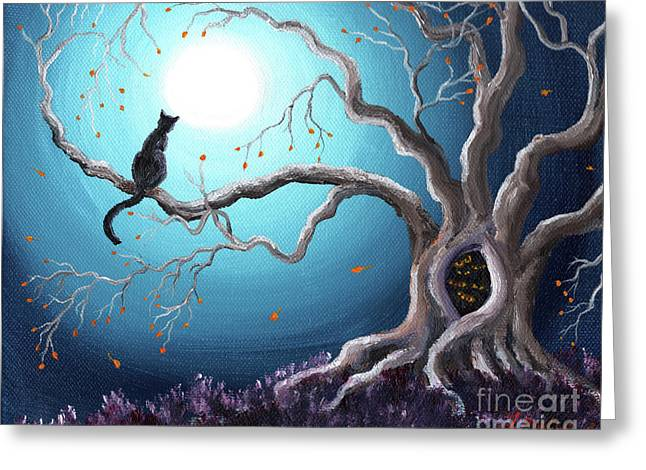 Surreal Trees Greeting Cards - Black Cat in a Haunted Tree Greeting Card by Laura Iverson