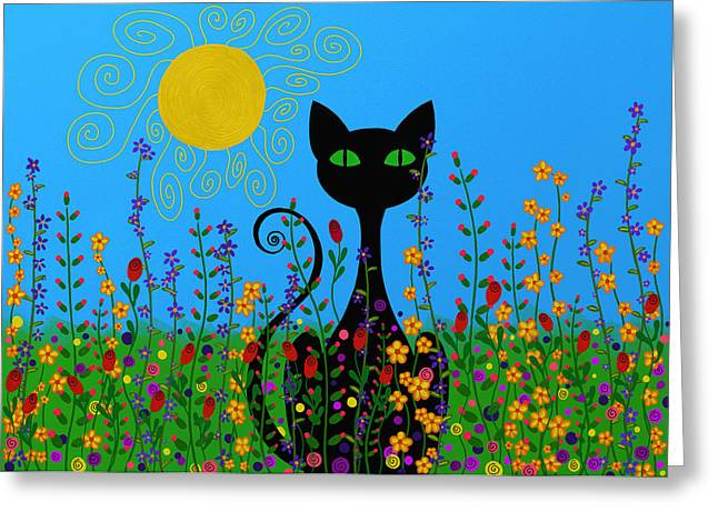 Floral Digital Art Greeting Cards - Black Cat In Flowers Greeting Card by Sharon Norman