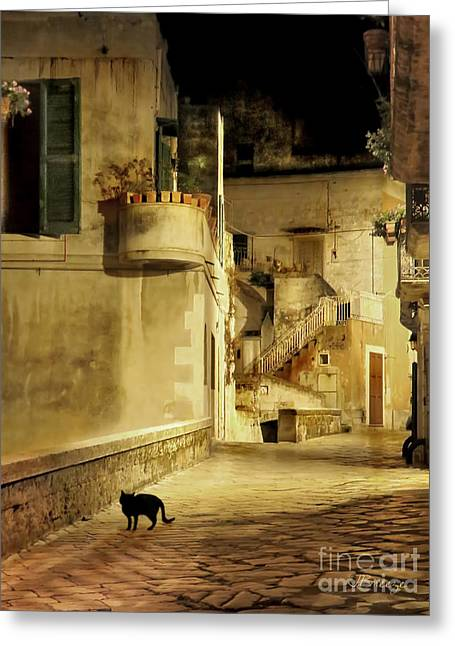 Southern Province Greeting Cards - Black Cat in Matera.Italy Greeting Card by Jennie Breeze