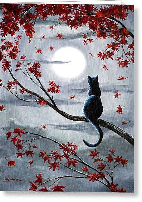 Black Cat In Silvery Moonlight Greeting Card by Laura Iverson