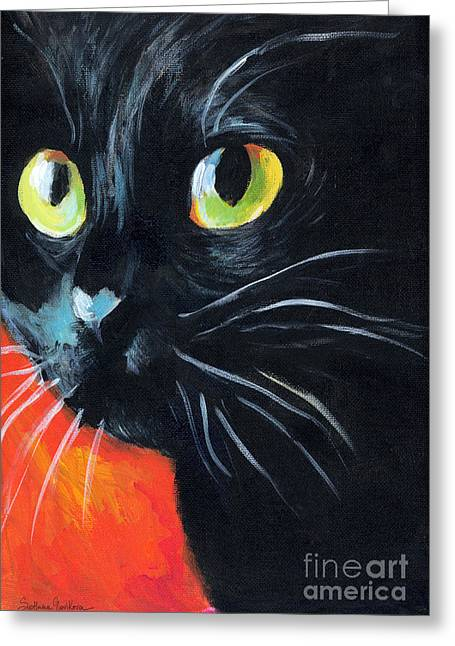 Cat Print Greeting Cards - Black cat painting portrait Greeting Card by Svetlana Novikova
