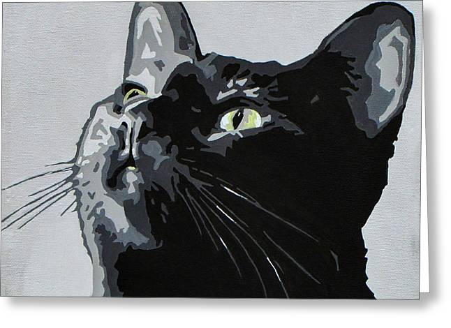 Black Cat Greeting Card by Slade Roberts