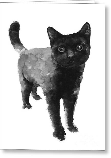 Black Cat Watercolor Painting  Greeting Card by Joanna Szmerdt