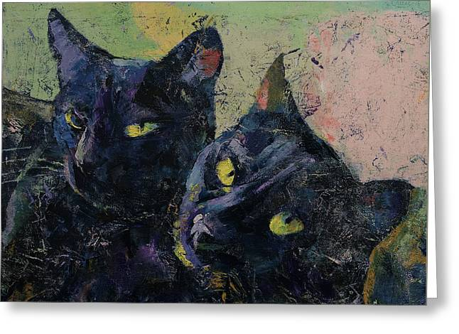 Black Cats Greeting Card by Michael Creese