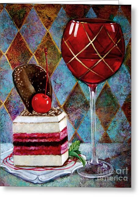 Black Cherry Tiramisu Greeting Card by Geraldine Arata