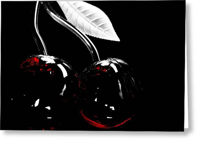 Sour Greeting Cards - Black Cherry Greeting Card by Toni Jackson