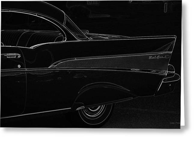 Chevy Greeting Cards - Black Chevy Bel Air FinLine Art Greeting Card by Lesa Fine