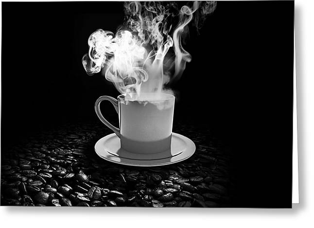 Coffe Greeting Cards - Black Coffee Greeting Card by Stefano Senise