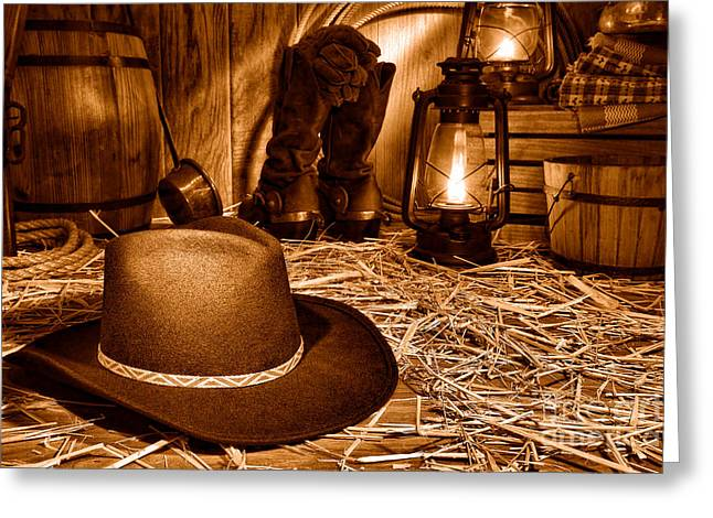 Black Cowboy Hat In An Old Barn - Sepia Greeting Card by Olivier Le Queinec