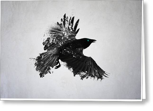 Mystic Art Greeting Cards - Black Crow  Greeting Card by Teun Van der Beek