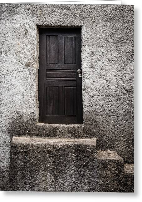 Wooden Stairs Greeting Cards - Black Door Greeting Card by Marco Oliveira