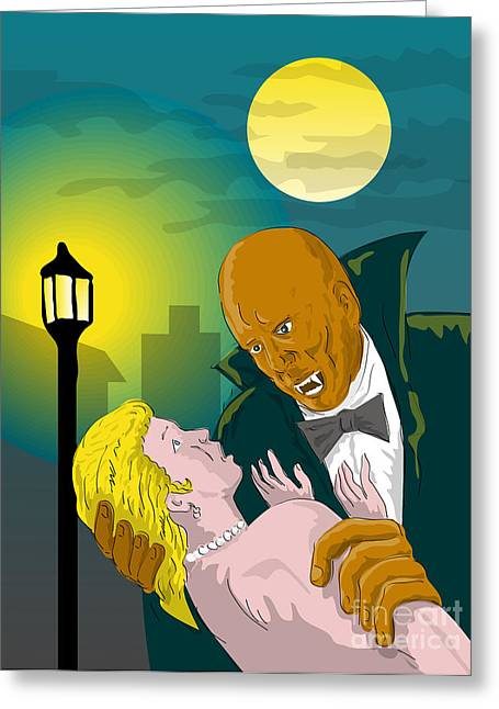 Castle Horror Illustration Greeting Cards - Black Dracula Greeting Card by Aloysius Patrimonio