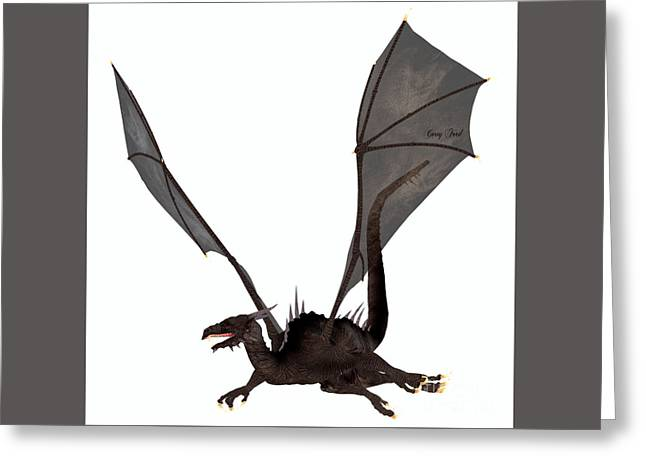 Fantasy Creatures Greeting Cards - Black Dragon Greeting Card by Corey Ford