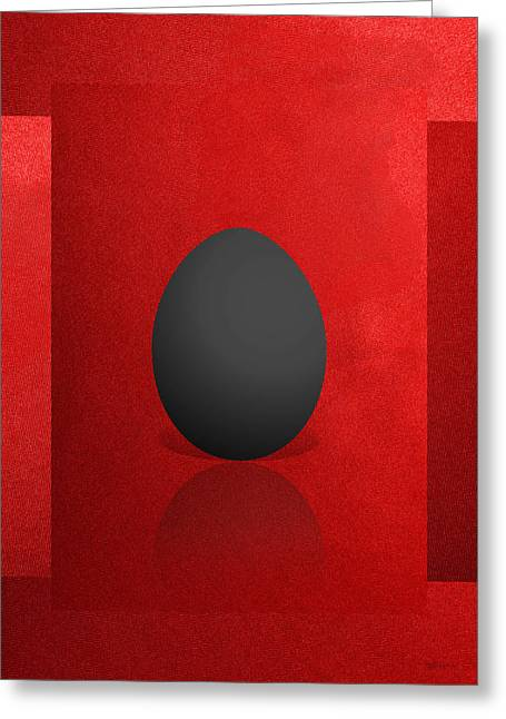 Ultra Modern Greeting Cards - Black Egg on Red Canvas  Greeting Card by Serge Averbukh