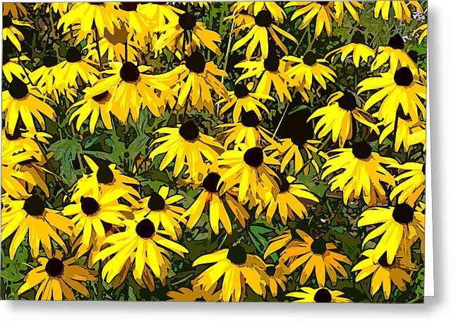 Abstract Digital Photographs Greeting Cards - Black-Eyed Susans Greeting Card by Jean Hall