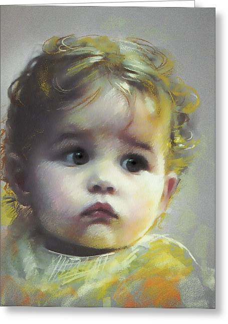 Pastel Portrait Greeting Cards - Black Eyes Greeting Card by Ylli Haruni