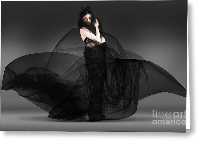 Outfit Greeting Cards - Black Fashion The Dark Movement In Motion Greeting Card by Ryan Jorgensen