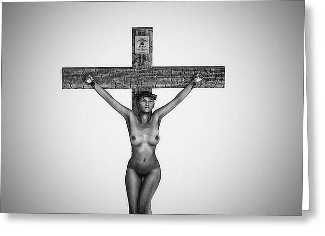 Female Christ Greeting Cards - Black Female Christ in 3D Greeting Card by Ramon Martinez