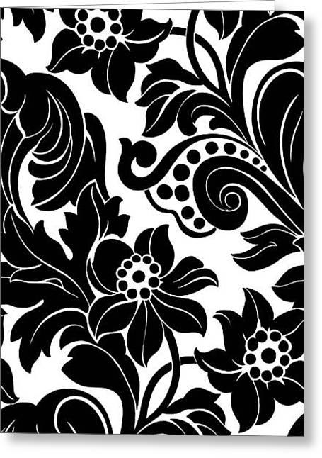 Branches Photographs Greeting Cards - Black Floral Pattern On White With Dots Greeting Card by Gillham Studios