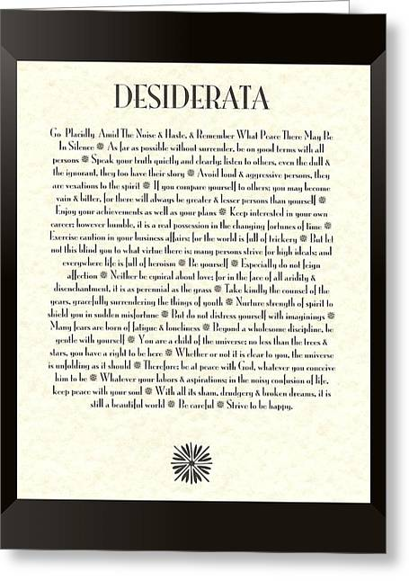 Quotes Greeting Cards - Black Framed Sunburst DESIDERATA Poem Greeting Card by Desiderata Gallery