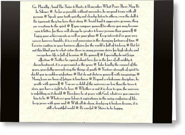 Black Framed Sunburst DESIDERATA Poem Greeting Card by Desiderata Gallery