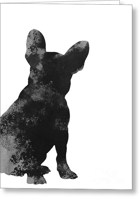 Black French Bulldog Minimalist Painting Greeting Card by Joanna Szmerdt
