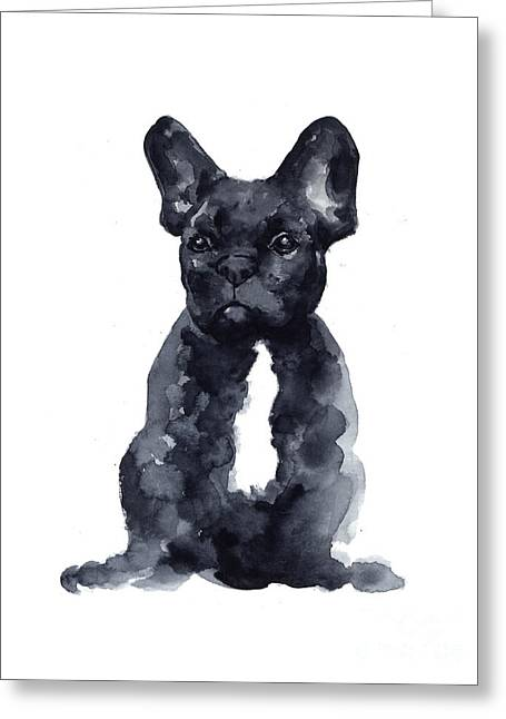 Black French Bulldog Watercolor Poster Greeting Card by Joanna Szmerdt