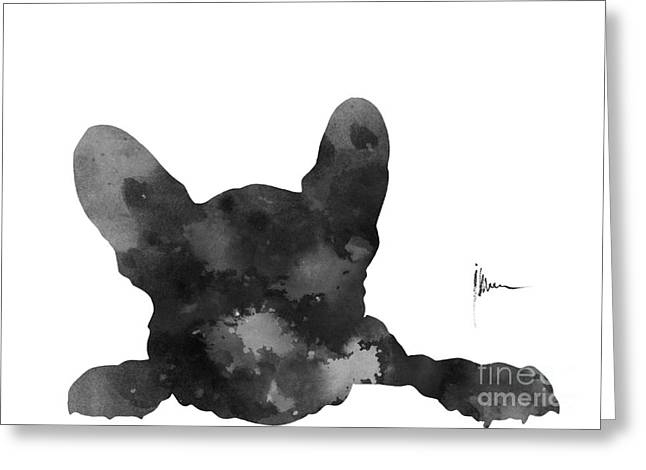Black French Bulldog Silhouette Art Print Greeting Card by Joanna Szmerdt