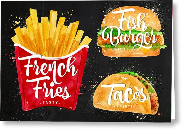 Black French Fries Greeting Card by Aloke Design