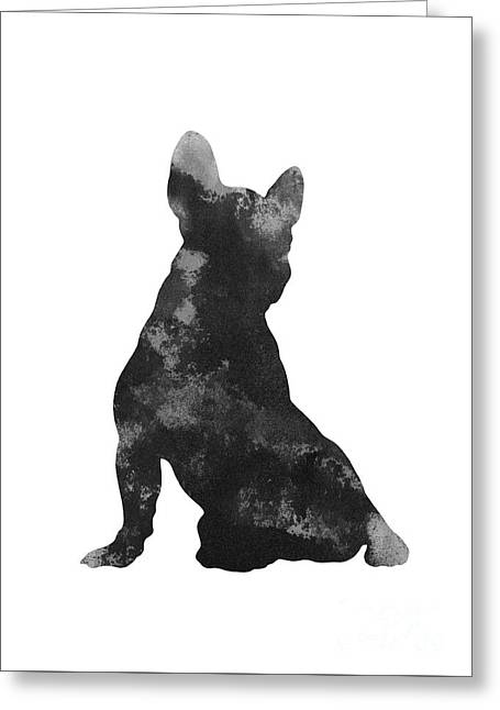 Black Frenchie Silhouette Drawing Greeting Card by Joanna Szmerdt