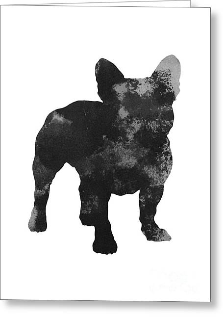 Black Frenchie Silhouette Fine Art Poster Greeting Card by Joanna Szmerdt