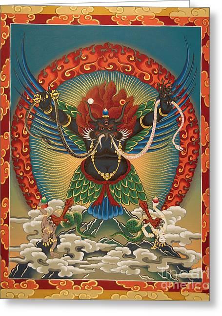 Thangka Greeting Cards - Black Garuda - Tsasum Tersar Greeting Card by Sergey Noskov