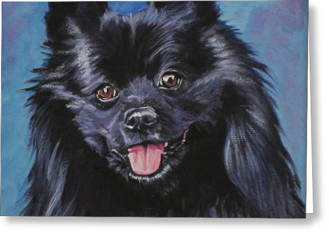 German Shepard Dogs Greeting Cards - Black German Spitz Greeting Card by Lee Ann Shepard