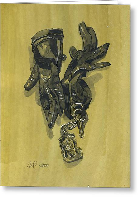 Interior Still Life Drawings Greeting Cards - Black Gloves and Bibelot. Paradox Still Life Greeting Card by Igor Sakurov