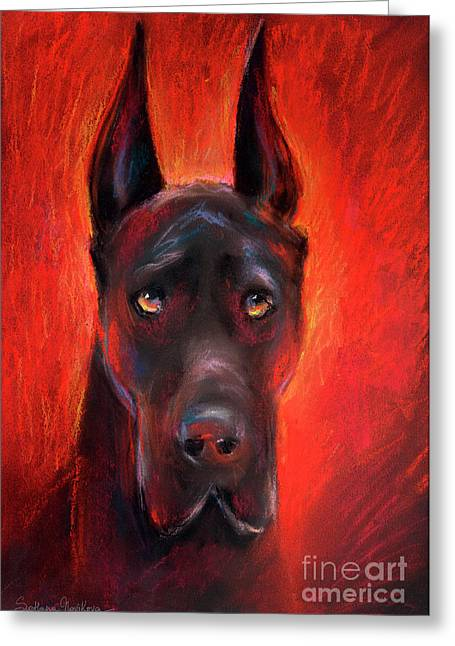 Black Drawings Greeting Cards - Black Great Dane dog painting Greeting Card by Svetlana Novikova