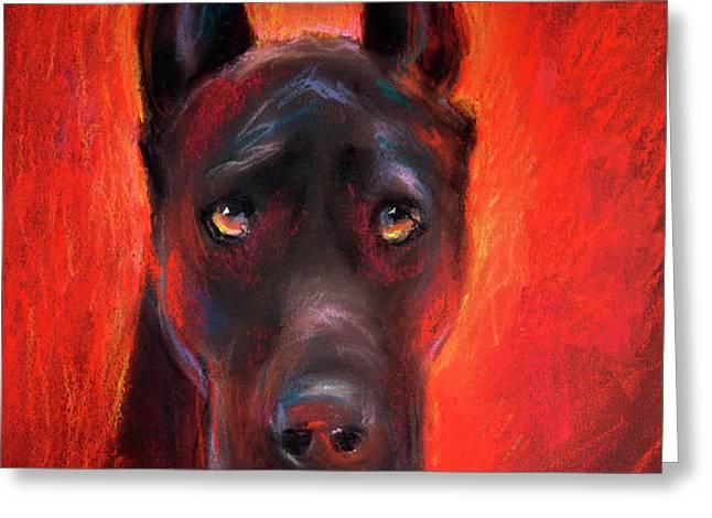 Black Great Dane dog painting Greeting Card by Svetlana Novikova