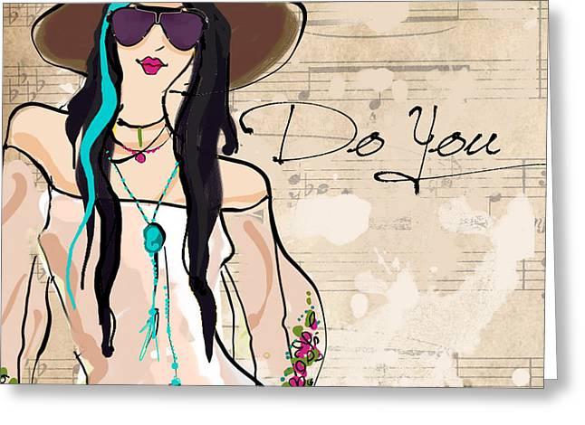 Black Hair Glasses Greeting Card by Jodi Pedri