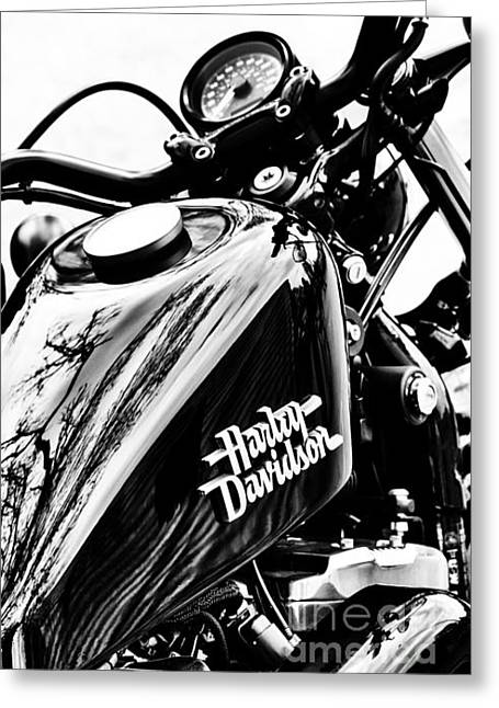 V Twin Greeting Cards - Black Harley Greeting Card by Tim Gainey