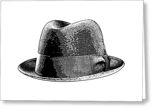 Bad Drawings Greeting Cards - Black Hat T-shirt Greeting Card by Edward Fielding