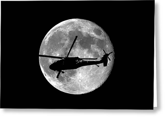 Helo Greeting Cards - Black Hawk Moon .png Greeting Card by Al Powell Photography USA