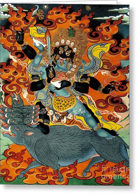 Mythology Greeting Cards - Black Hayagriva Greeting Card by Sergey Noskov