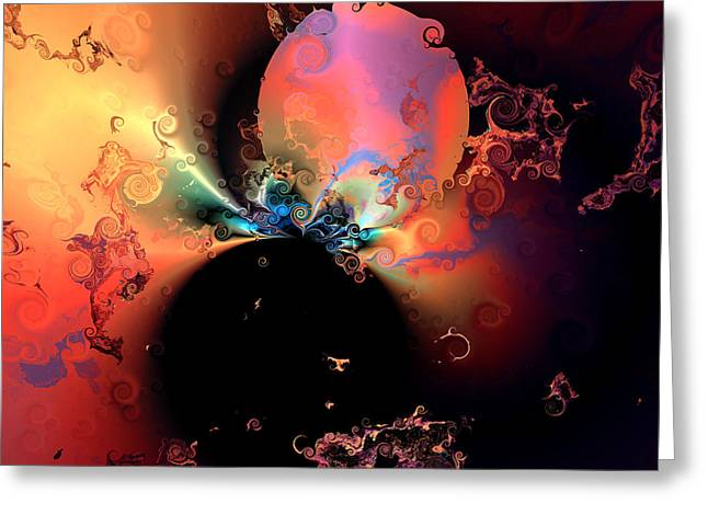 Colorful Abstract Algorithmic Contemporary Greeting Cards - Black hole Greeting Card by Claude McCoy