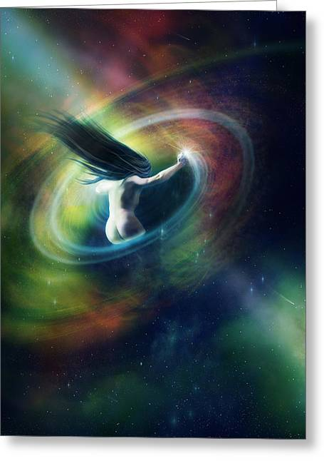 Pulling Greeting Cards - Black Hole Greeting Card by Karen K