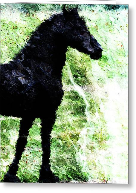 Galop Greeting Cards - Black Horse Greeting Card by Andrea Barbieri