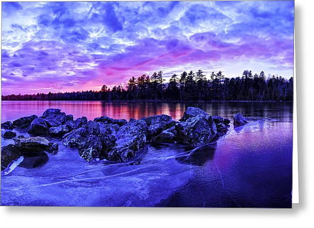 Winter Photos Greeting Cards - Black Ice at Twilight Panorama Greeting Card by Bill Caldwell -        ABeautifulSky Photography