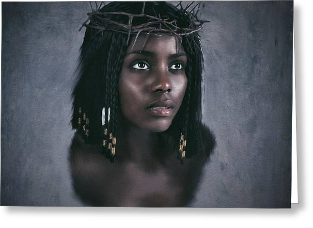 Black Jesus Portrait V Greeting Card by Ramon Martinez