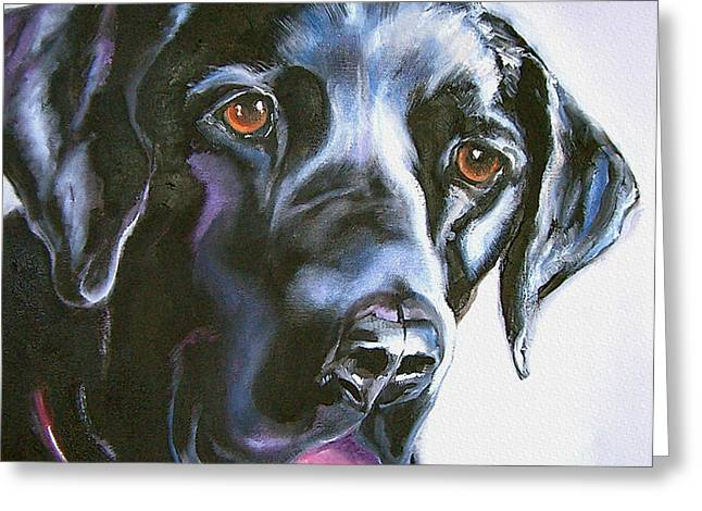 Lab Drawings Greeting Cards - Black Lab No Ordinary Love Greeting Card by Susan A Becker