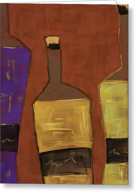 Glass Bottle Greeting Cards - Black Label Greeting Card by Diana Wade