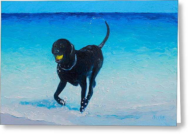 Playful Dog Greeting Cards - Black Labrador painting Greeting Card by Jan Matson